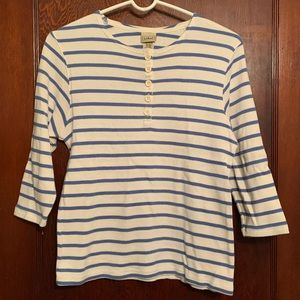 L.L. Bean women's French sailor 3/4-sleeve Henley